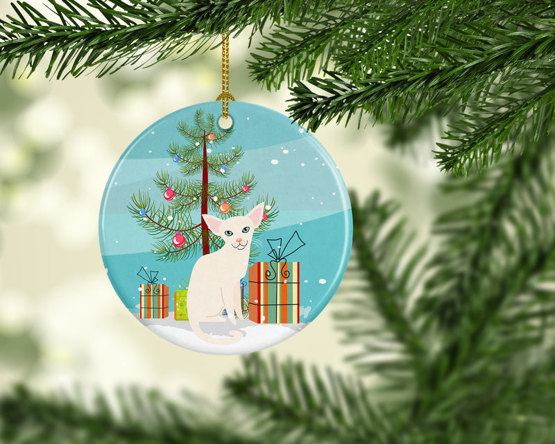 Foreign White Cat Merry Christmas Tree Ceramic Ornament BB4420CO1 by Caroline's Treasures