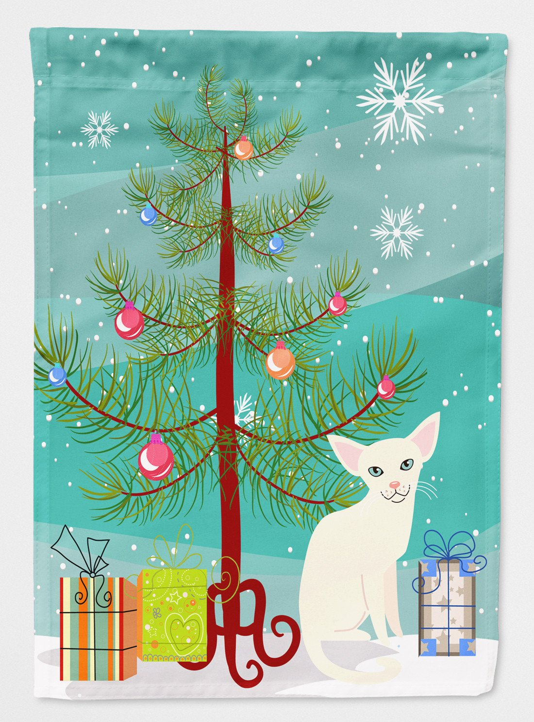 Foreign White Cat Merry Christmas Tree Flag Garden Size BB4420GF by Caroline's Treasures