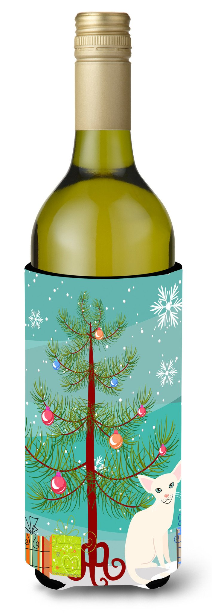 Buy this Foreign White Cat Merry Christmas Tree Wine Bottle Beverge Insulator Hugger BB4420LITERK