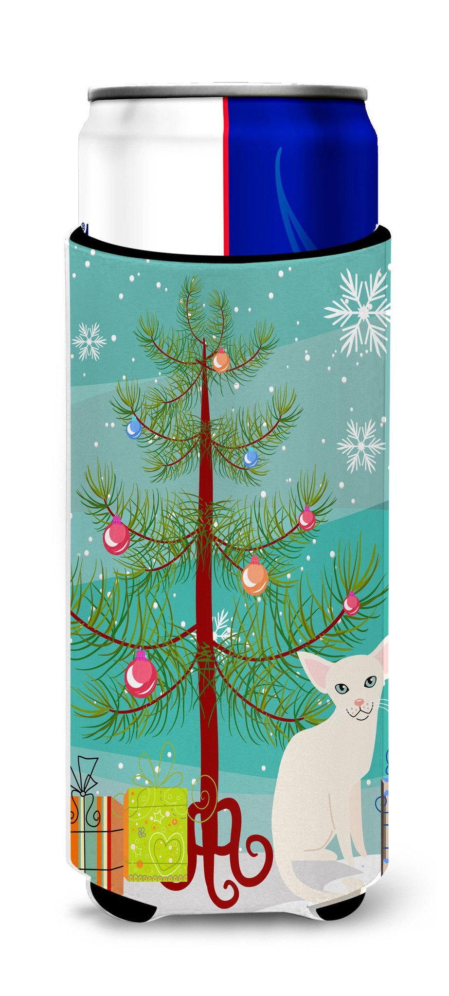 Foreign White Cat Merry Christmas Tree Michelob Ultra Hugger for slim cans BB4420MUK by Caroline's Treasures