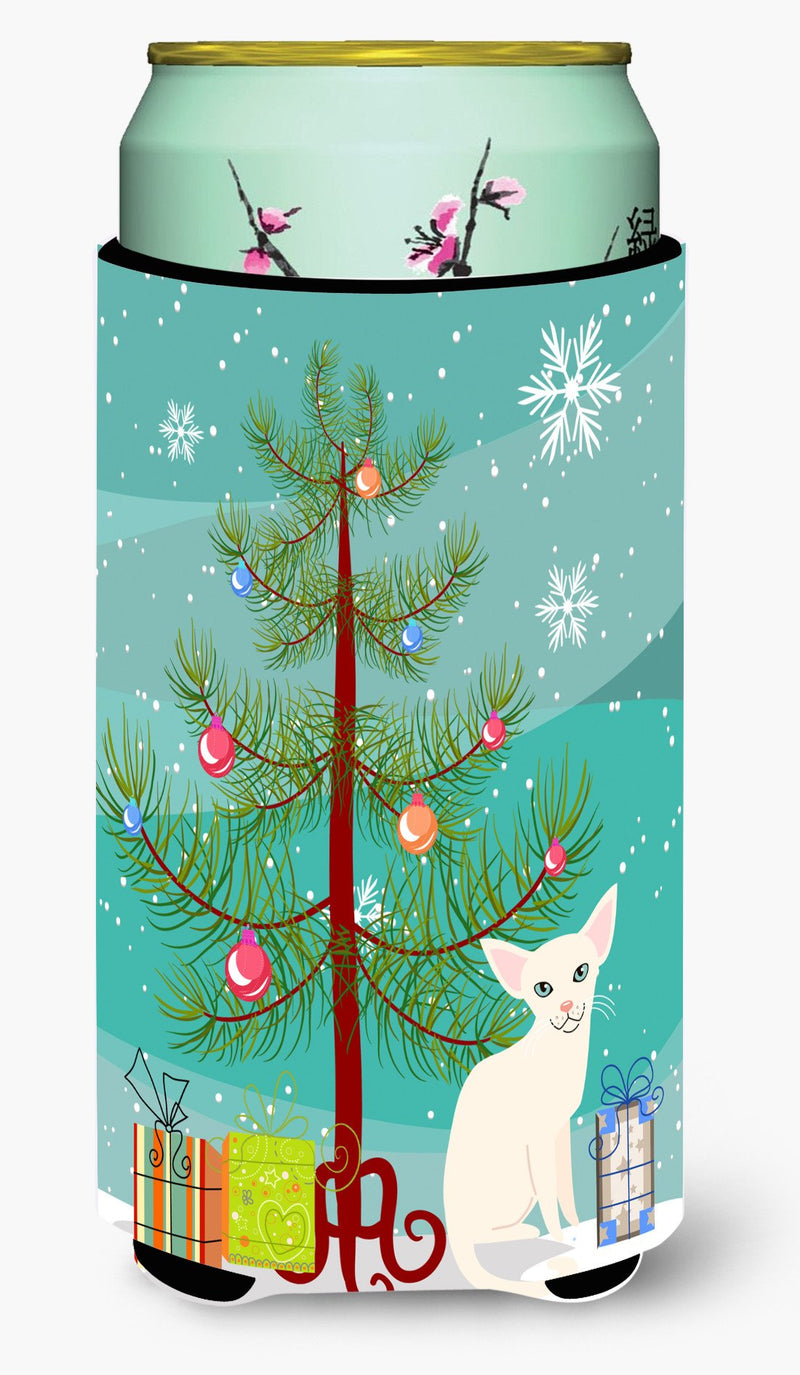 Buy this Foreign White Cat Merry Christmas Tree Tall Boy Beverage Insulator Hugger BB4420TBC