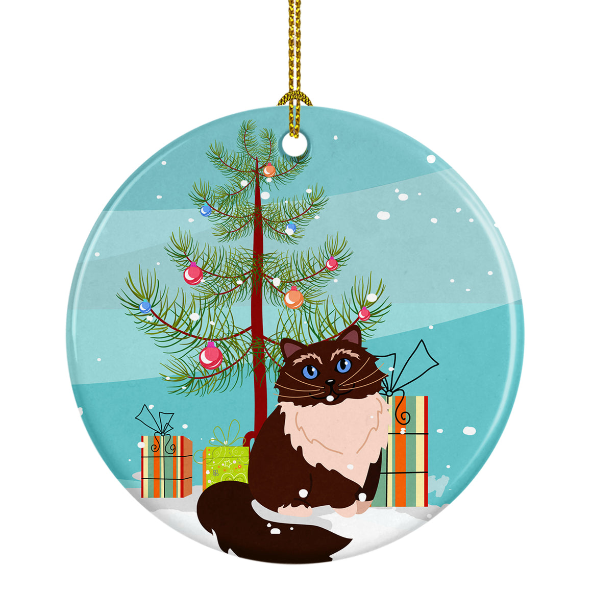 Buy this Himalayan Cat Merry Christmas Tree Ceramic Ornament BB4421CO1