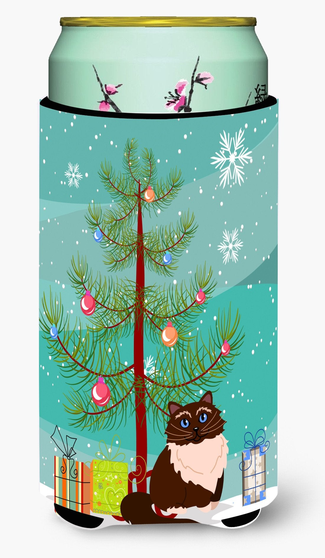 Himalayan Cat Merry Christmas Tree Tall Boy Beverage Insulator Hugger BB4421TBC by Caroline's Treasures