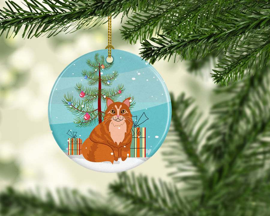 Buy this Maine Coon Cat Merry Christmas Tree Ceramic Ornament BB4423CO1