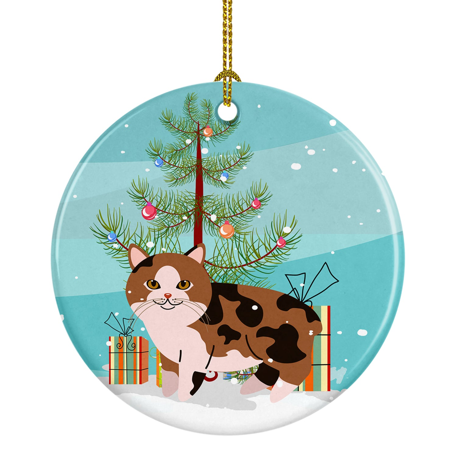 Buy this Manx Cat Merry Christmas Tree Ceramic Ornament BB4424CO1