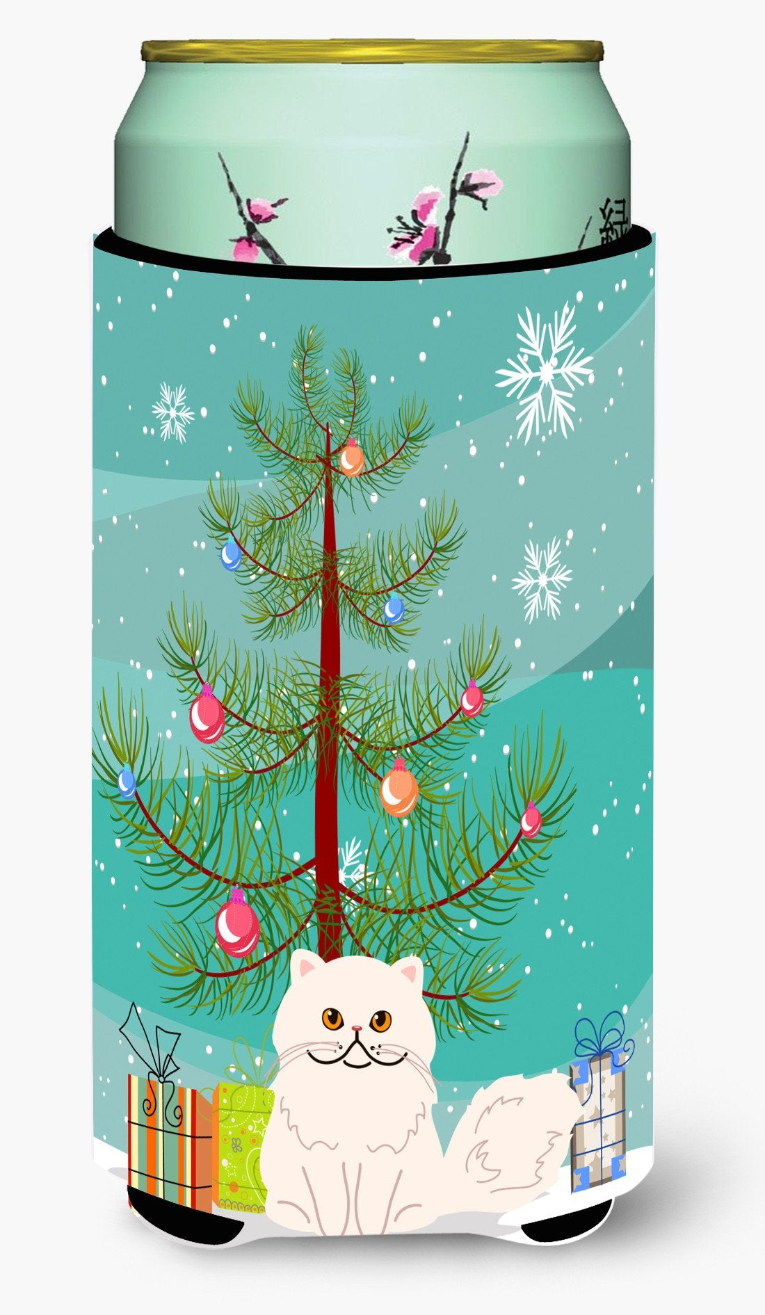 Buy this Persian Cat Merry Christmas Tree Tall Boy Beverage Insulator Hugger BB4425TBC