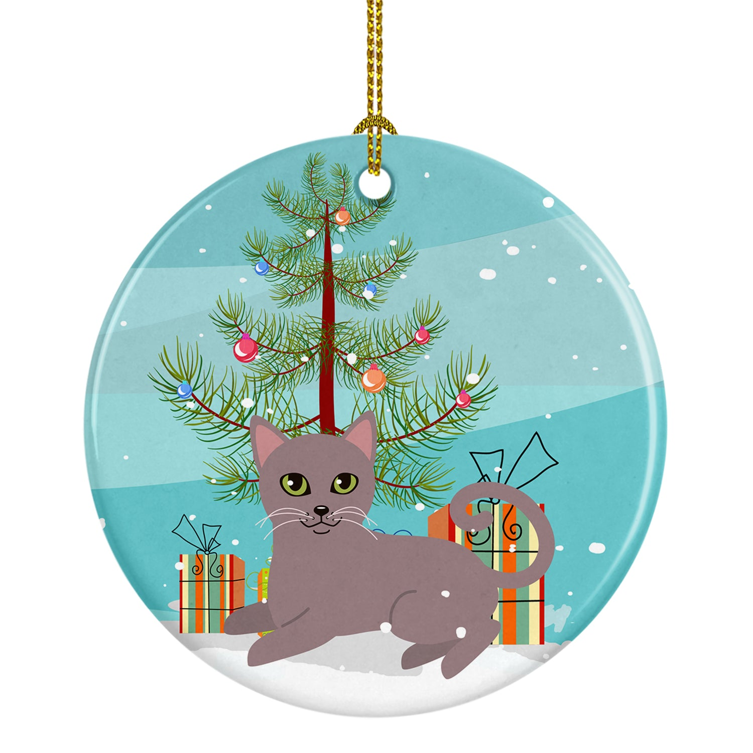 Buy this Russian Blue Cat Merry Christmas Tree Ceramic Ornament BB4427CO1