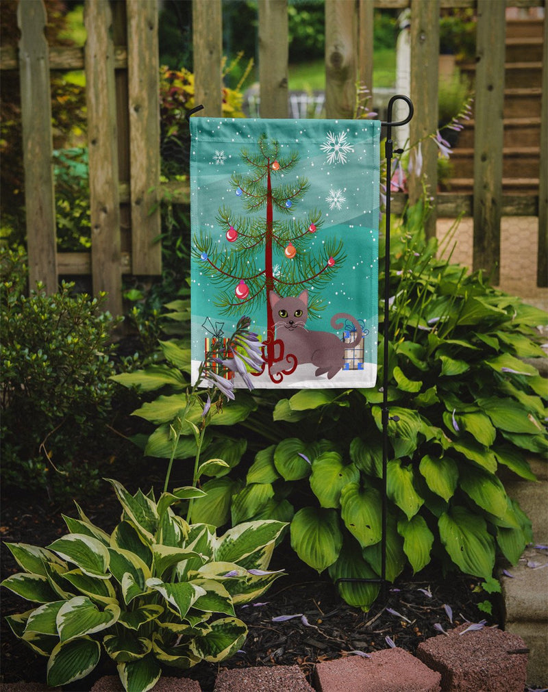 Buy this Russian Blue Cat Merry Christmas Tree Flag Garden Size BB4427GF