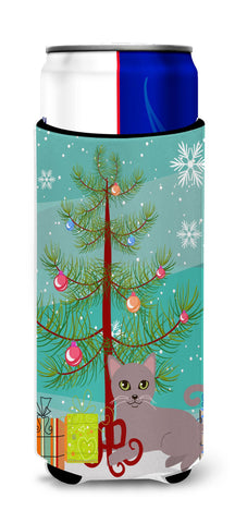 Buy this Russian Blue Cat Merry Christmas Tree Michelob Ultra Hugger for slim cans BB4427MUK