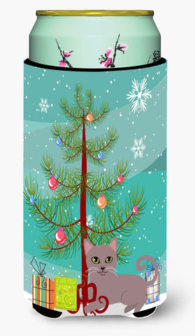 Buy this Russian Blue Cat Merry Christmas Tree Tall Boy Beverage Insulator Hugger BB4427TBC
