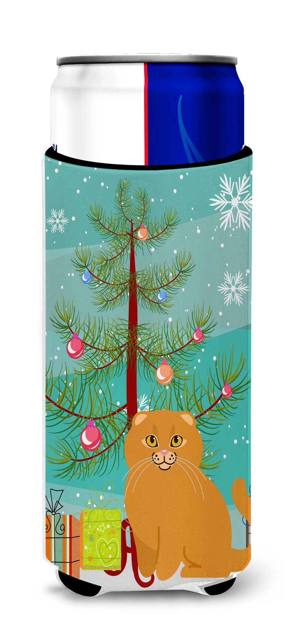 Buy this Scottish Fold Cat Merry Christmas Tree Michelob Ultra Hugger for slim cans BB4428MUK