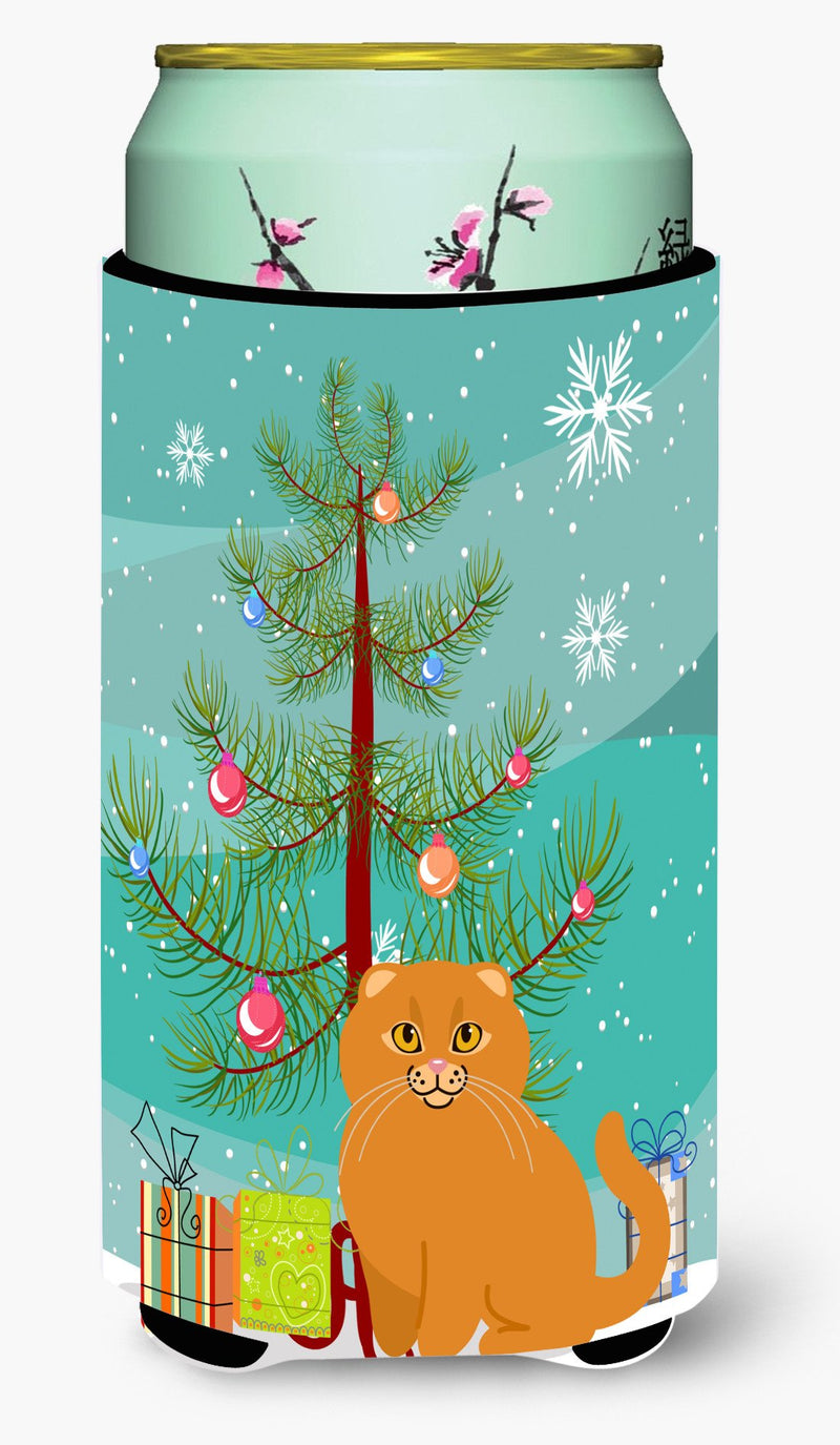 Buy this Scottish Fold Cat Merry Christmas Tree Tall Boy Beverage Insulator Hugger BB4428TBC
