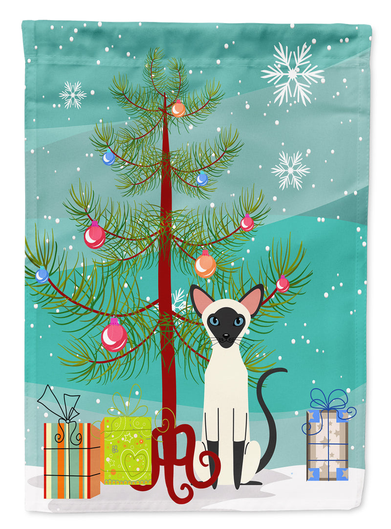 Buy this Siamese Cat Merry Christmas Tree Flag Canvas House Size BB4429CHF