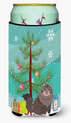 Buy this Siberian Cat Merry Christmas Tree Tall Boy Beverage Insulator Hugger BB4430TBC