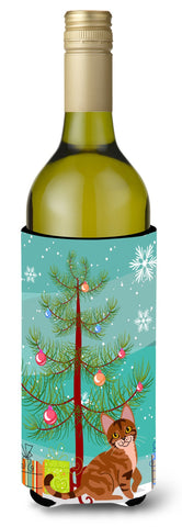 Buy this Sokoke Cat Merry Christmas Tree Wine Bottle Beverge Insulator Hugger BB4431LITERK
