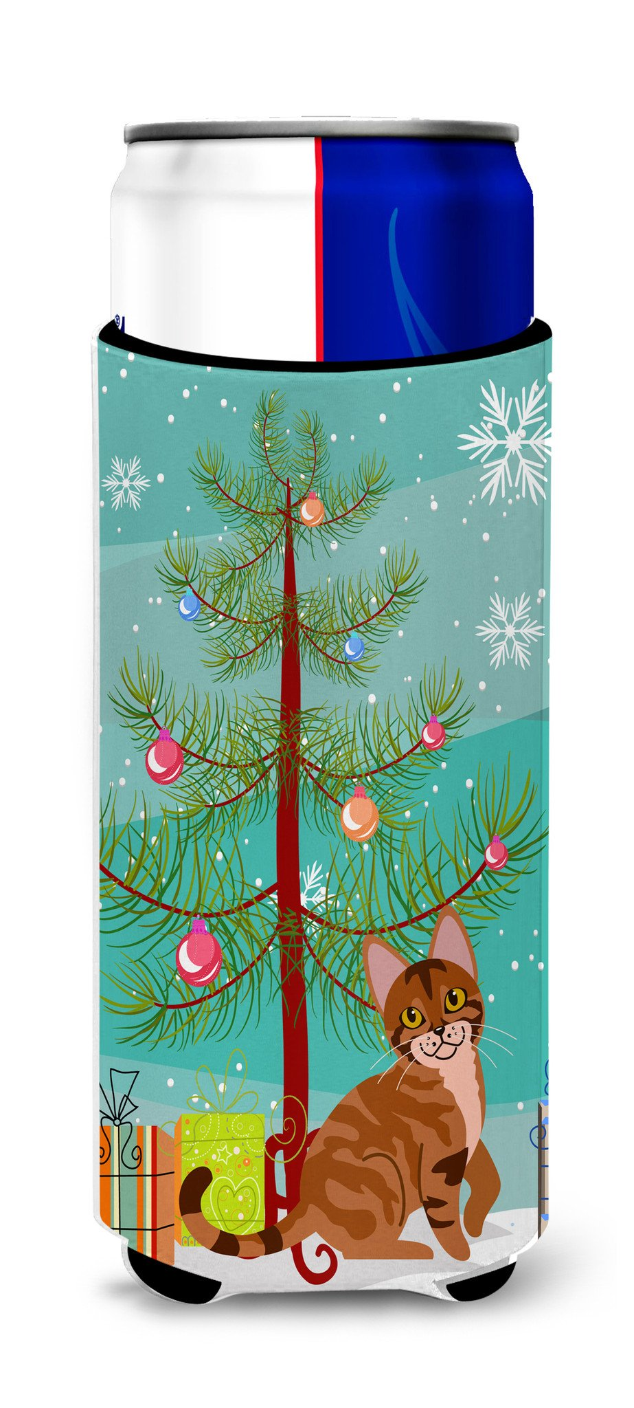 Sokoke Cat Merry Christmas Tree Michelob Ultra Hugger for slim cans BB4431MUK by Caroline's Treasures