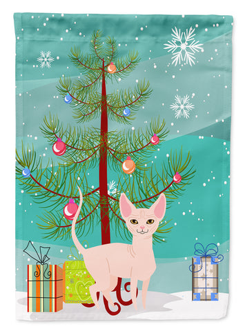Buy this Sphynx Cat Merry Christmas Tree Flag Canvas House Size BB4432CHF