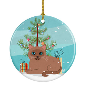 Buy this Tonkinese Cat Merry Christmas Tree Ceramic Ornament BB4433CO1