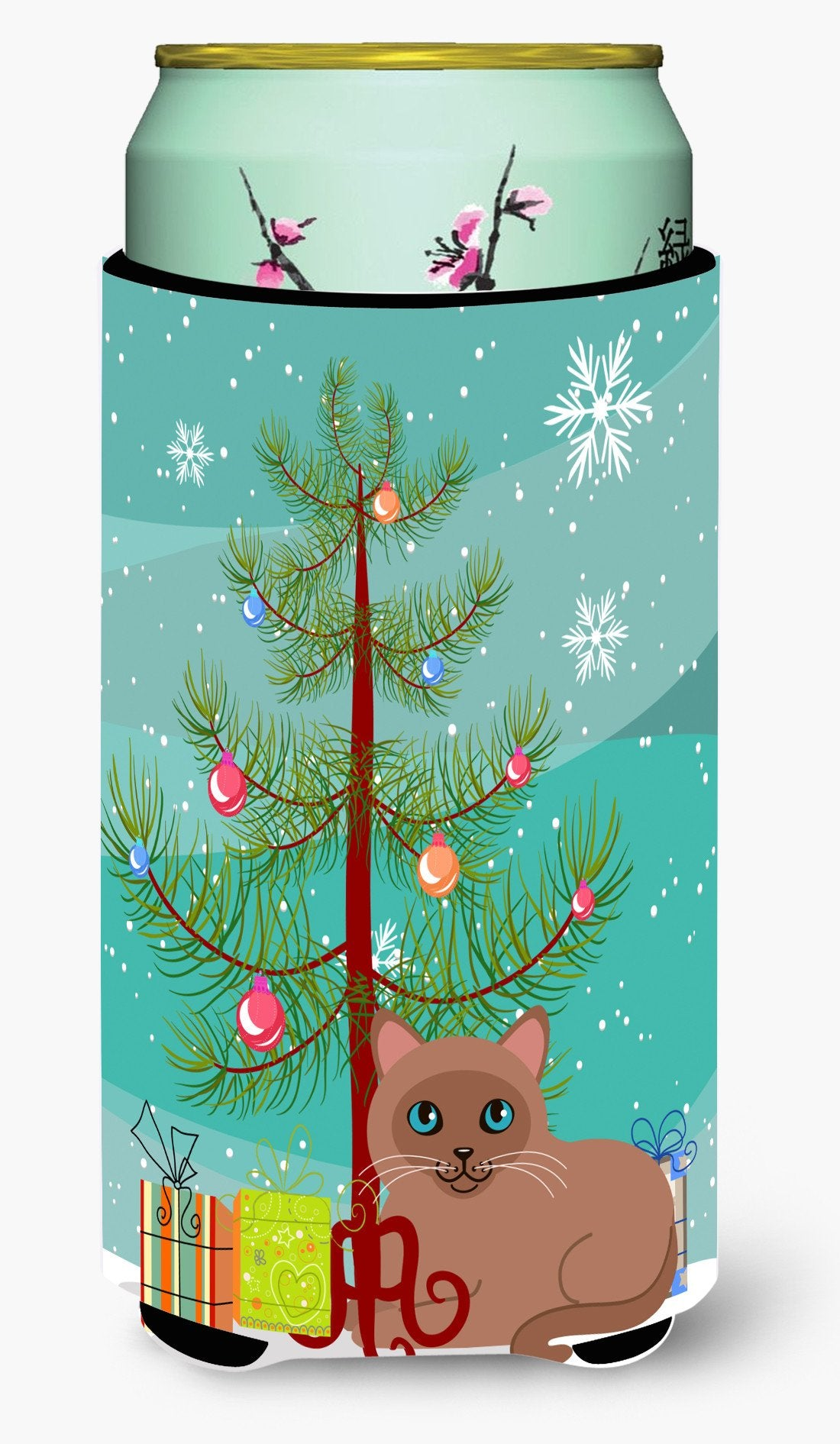 Tonkinese Cat Merry Christmas Tree Tall Boy Beverage Insulator Hugger BB4433TBC by Caroline's Treasures