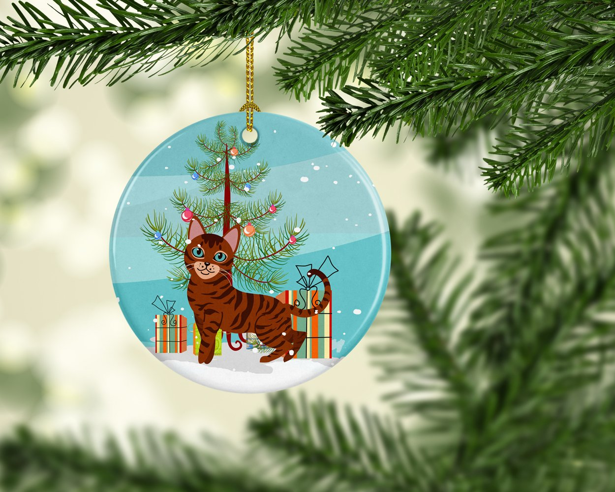 Toyger Cat Merry Christmas Tree Ceramic Ornament BB4434CO1 by Caroline's Treasures