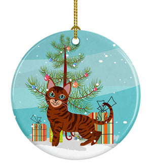 Buy this Toyger Cat Merry Christmas Tree Ceramic Ornament BB4434CO1