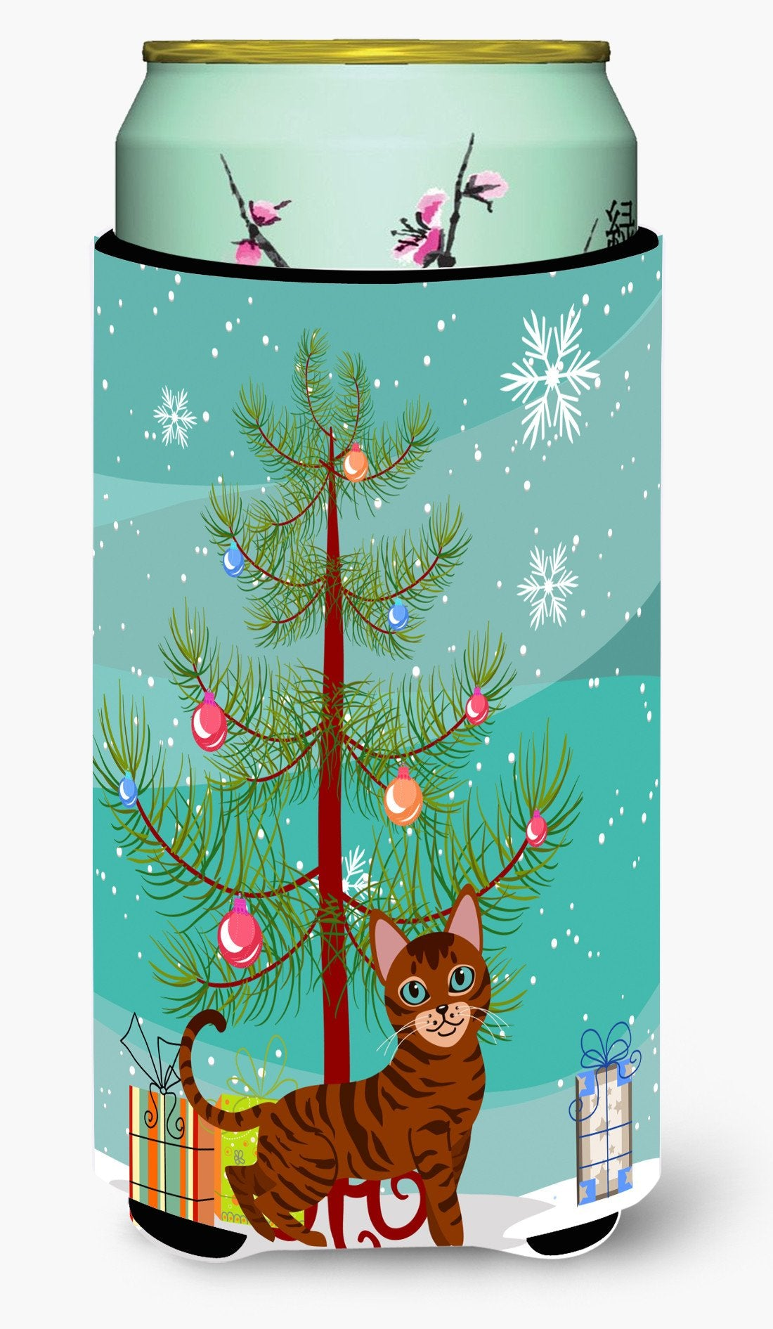 Toyger Cat Merry Christmas Tree Tall Boy Beverage Insulator Hugger BB4434TBC by Caroline's Treasures
