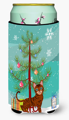 Buy this Toyger Cat Merry Christmas Tree Tall Boy Beverage Insulator Hugger BB4434TBC