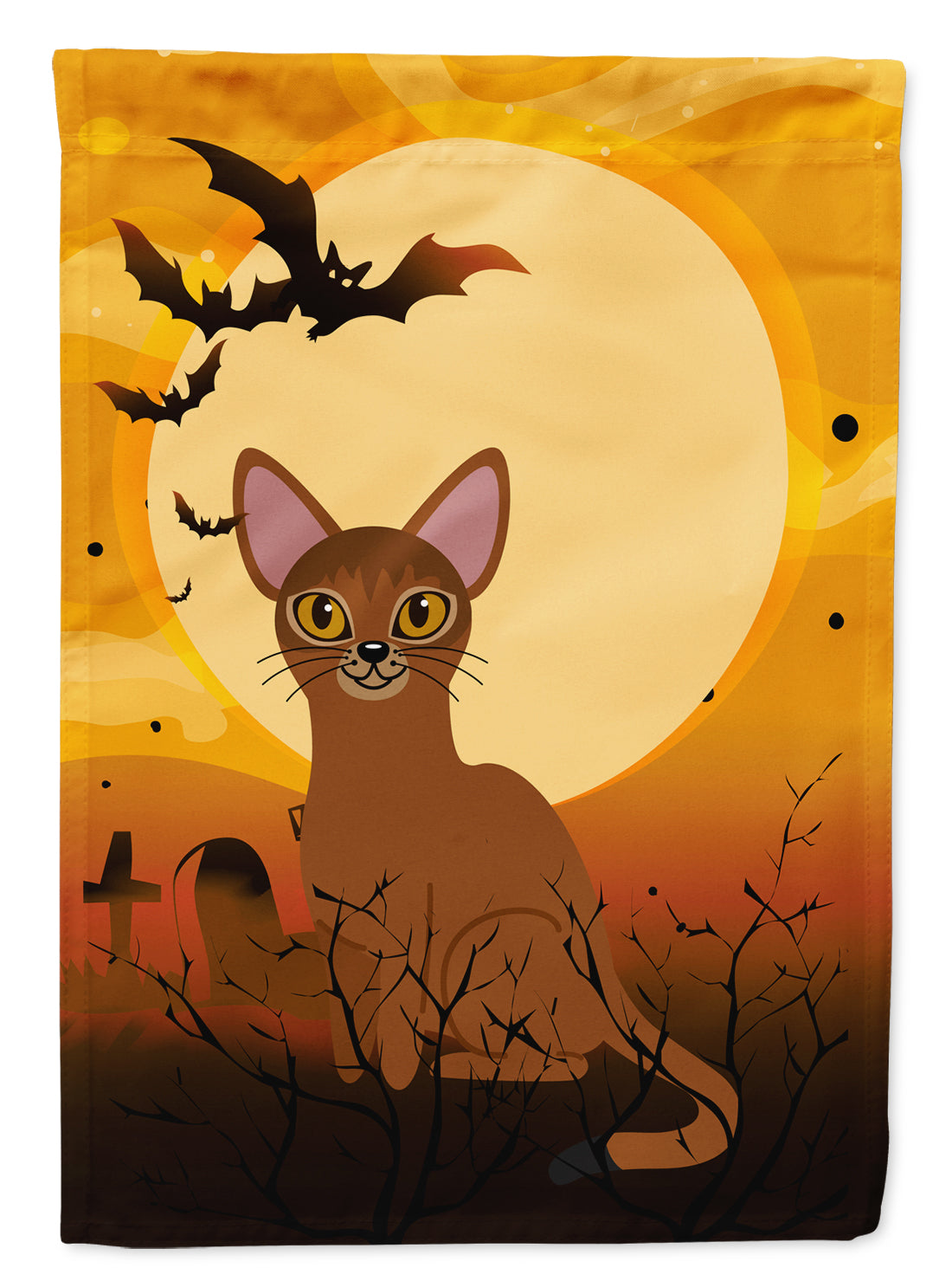 Buy this Halloween Abyssinian Cat Flag Canvas House Size BB4436CHF
