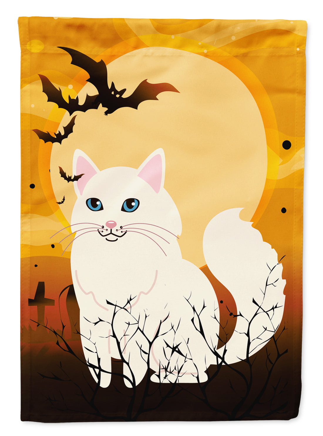 Halloween Turkish Angora Cat Flag Canvas House Size BB4438CHF by Caroline's Treasures