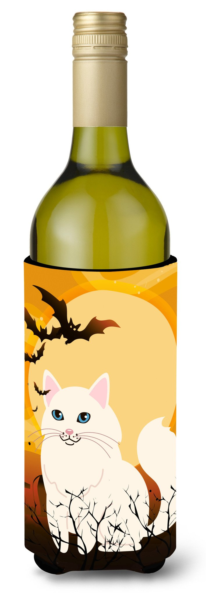 Buy this Halloween Turkish Angora Cat Wine Bottle Beverge Insulator Hugger BB4438LITERK