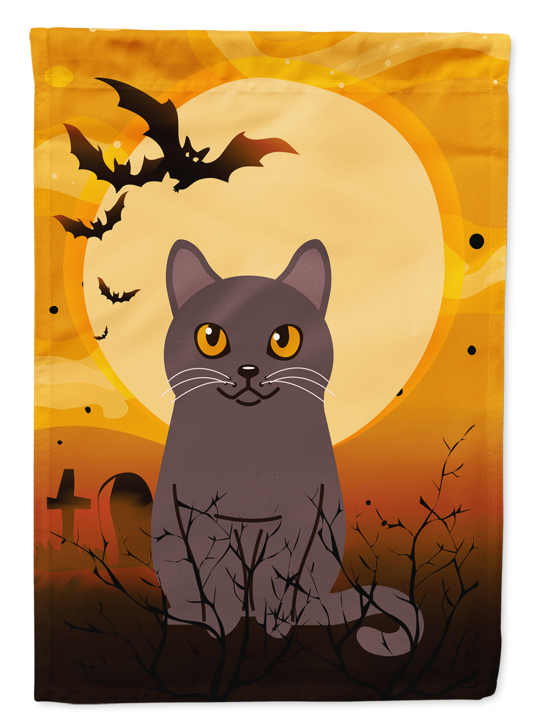 Halloween Chartreux Cat Flag Canvas House Size BB4443CHF by Caroline's Treasures