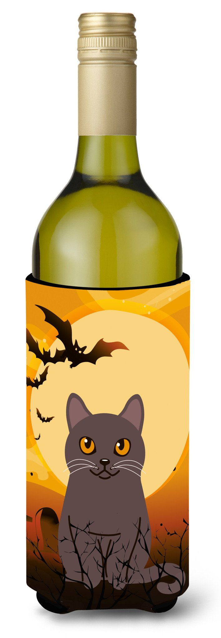 Halloween Chartreux Cat Wine Bottle Beverge Insulator Hugger BB4443LITERK by Caroline's Treasures