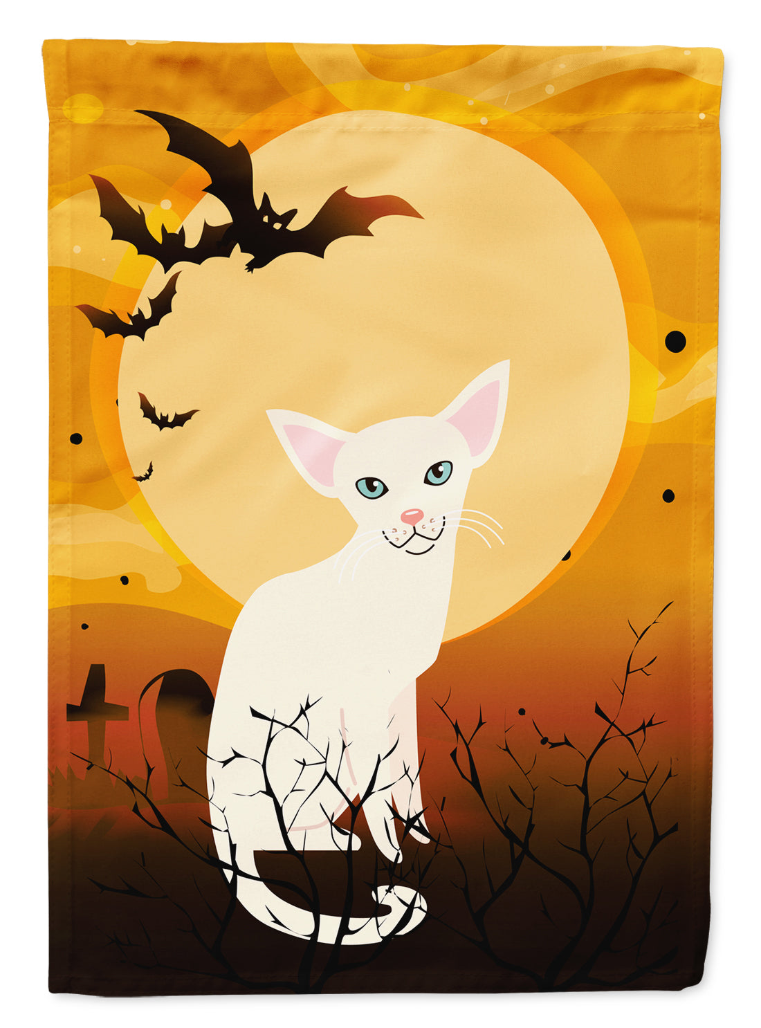 Halloween Foreign White Cat Flag Canvas House Size BB4445CHF by Caroline's Treasures