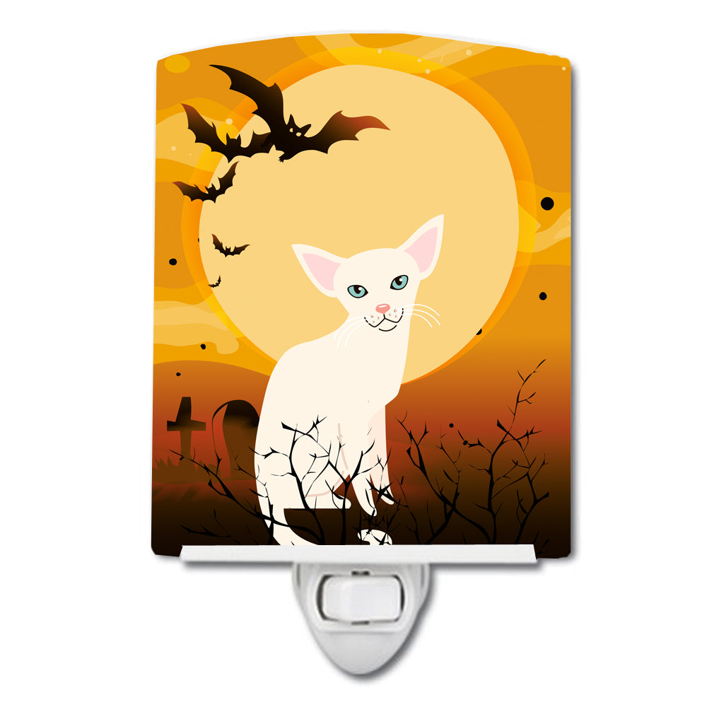 Halloween Foreign White Cat Ceramic Night Light BB4445CNL by Caroline's Treasures