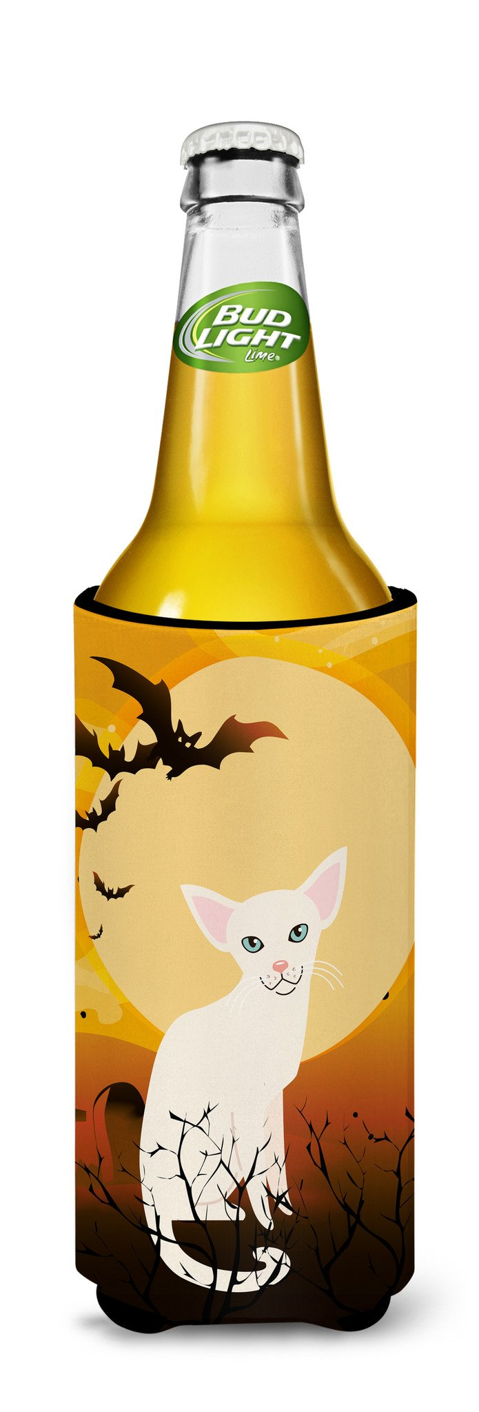 Halloween Foreign White Cat Michelob Ultra Hugger for slim cans BB4445MUK by Caroline's Treasures