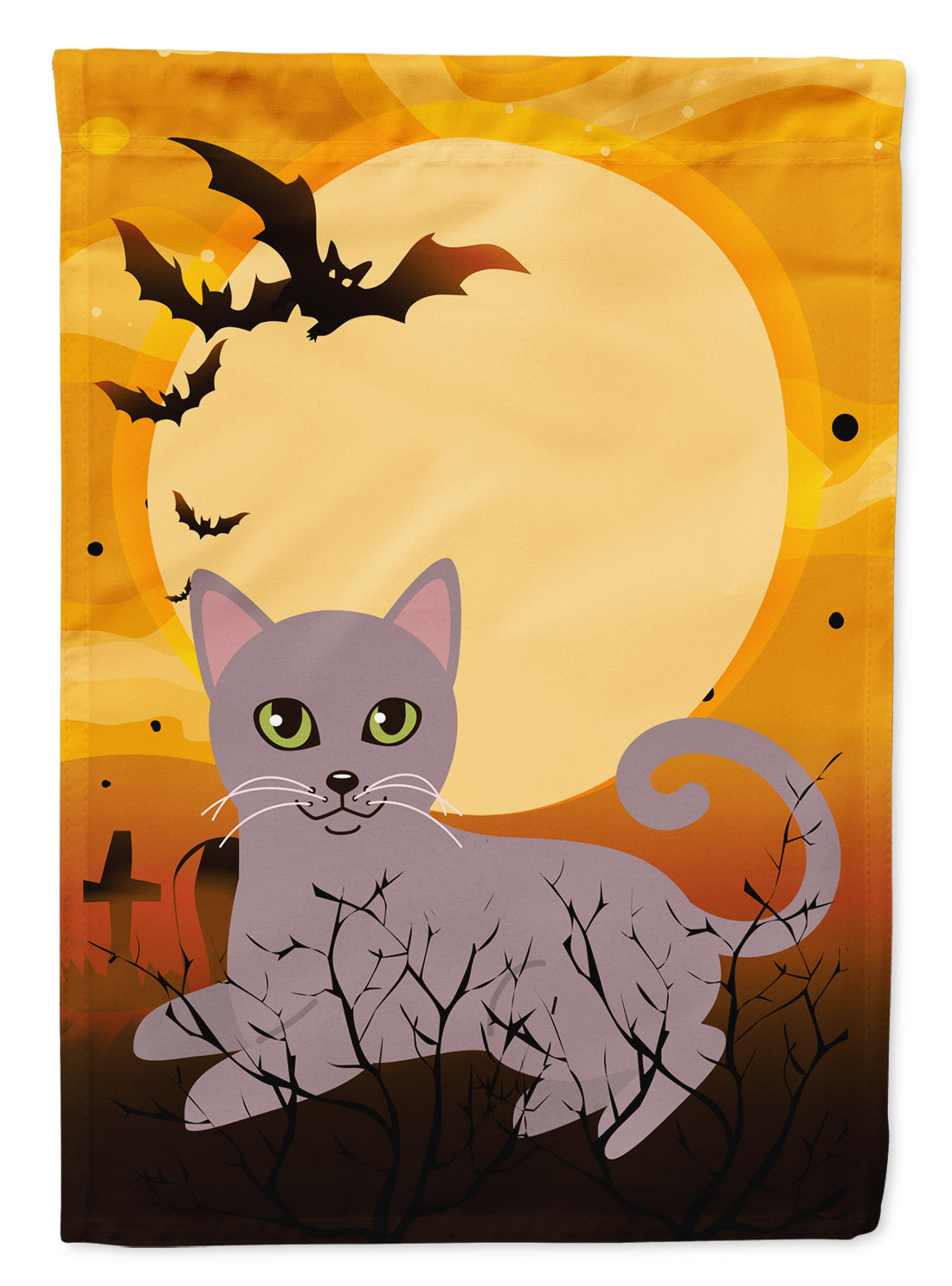 Buy this Halloween Russian Blue Cat Flag Canvas House Size BB4452CHF