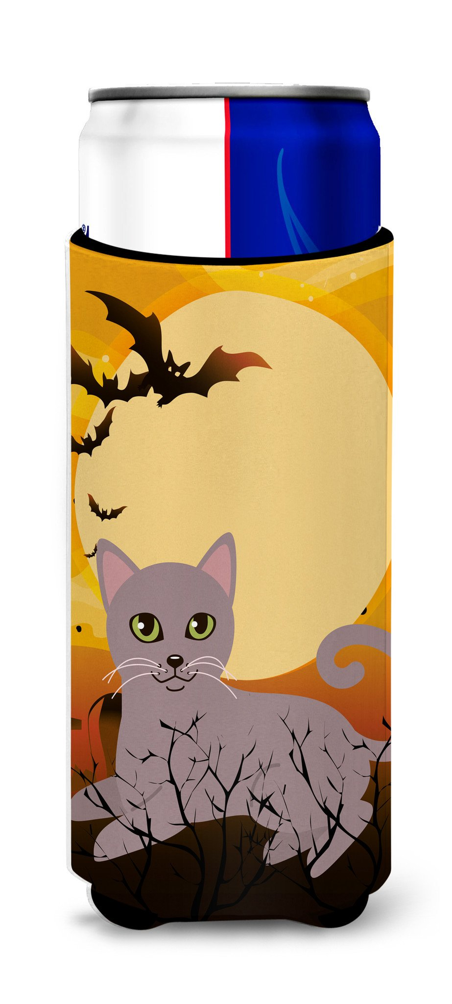 Buy this Halloween Russian Blue Cat Michelob Ultra Hugger for slim cans BB4452MUK