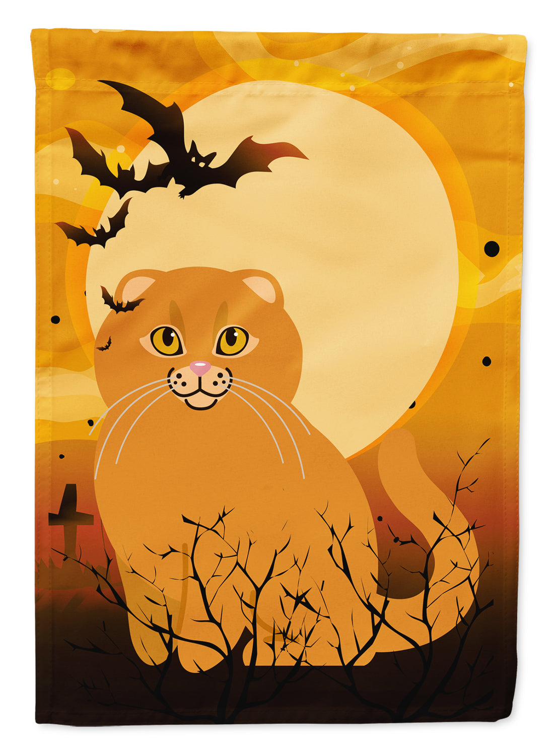Buy this Halloween Scottish Fold Cat Flag Canvas House Size BB4453CHF