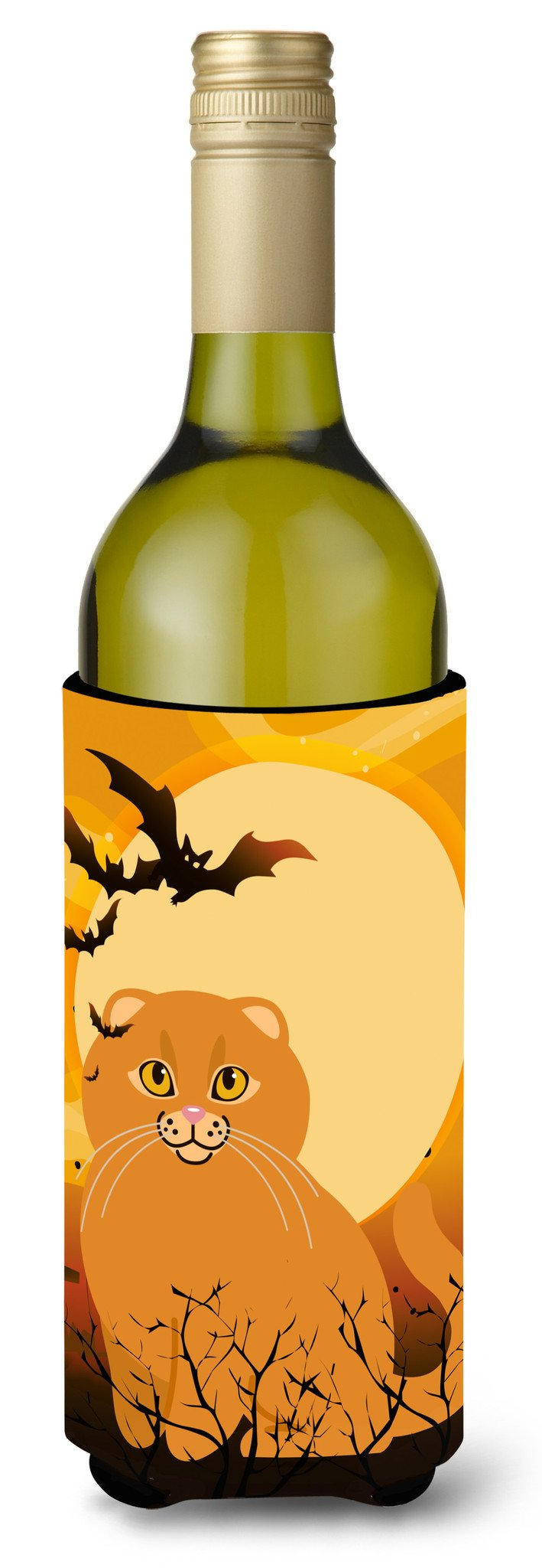 Buy this Halloween Scottish Fold Cat Wine Bottle Beverge Insulator Hugger BB4453LITERK