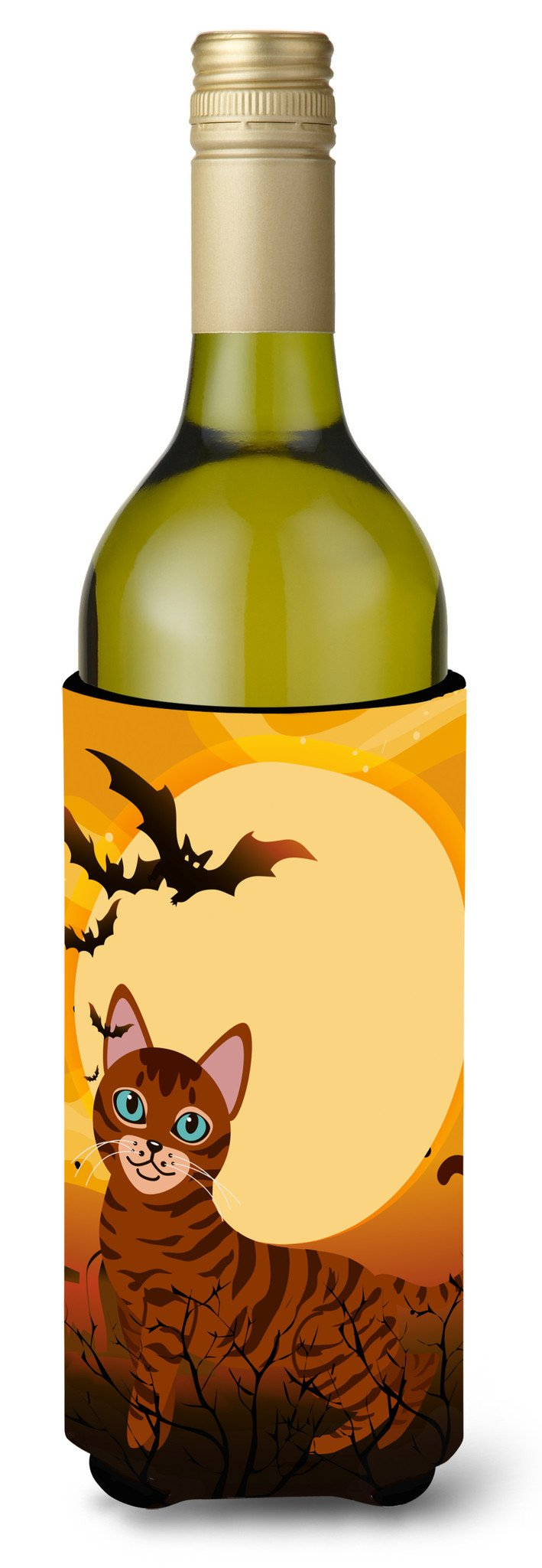 Halloween Toyger Cat Wine Bottle Beverge Insulator Hugger BB4459LITERK by Caroline's Treasures