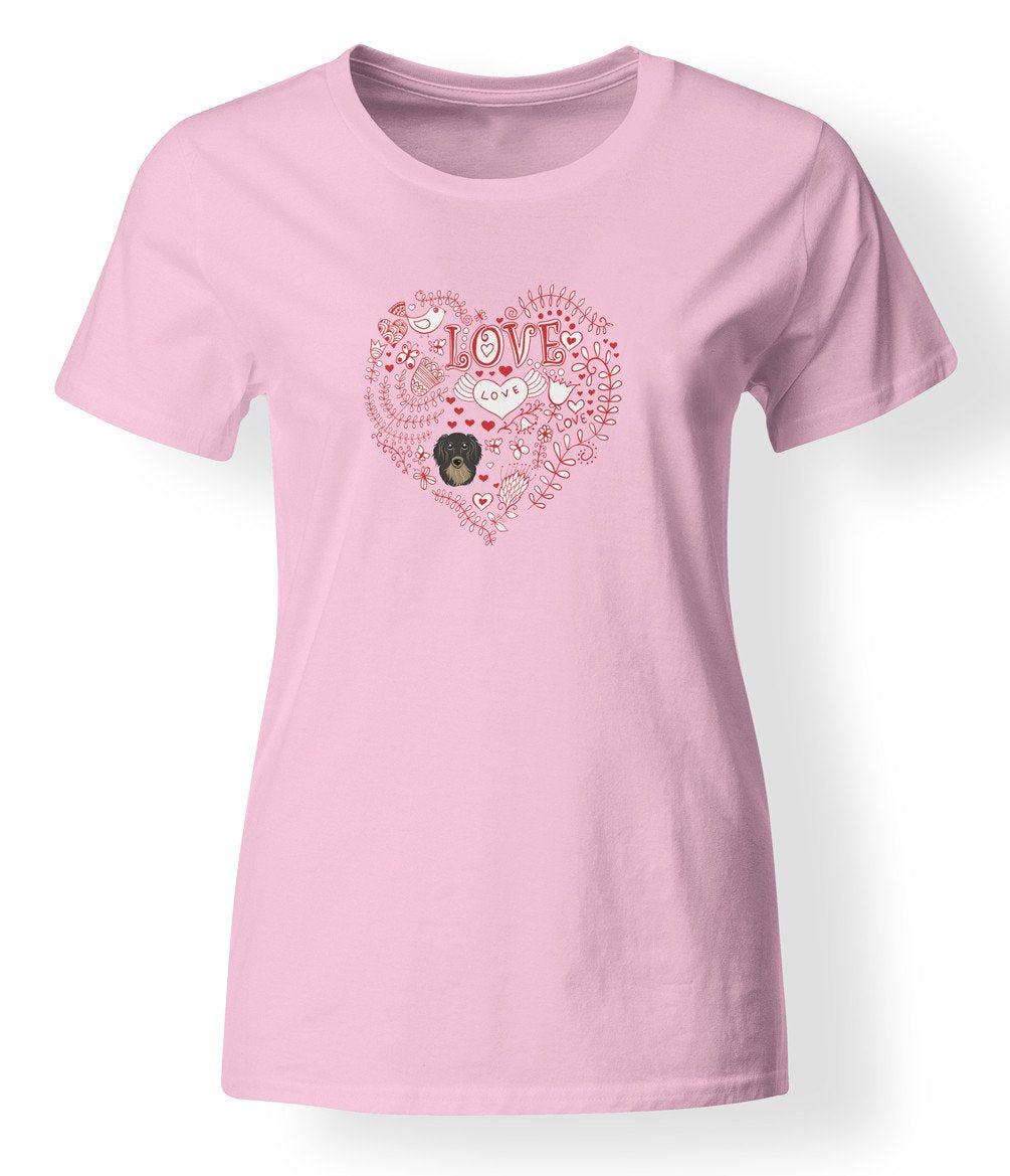 Love Hearts and  Longhair Black and Tan Dachshund T-shirt Ladies Cut Short Sleeve Large BB4472-978-L by Caroline's Treasures