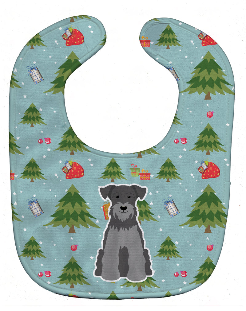 Buy this Christmas Miniature Schanuzer Black Silver Baby Bib BB4712BIB