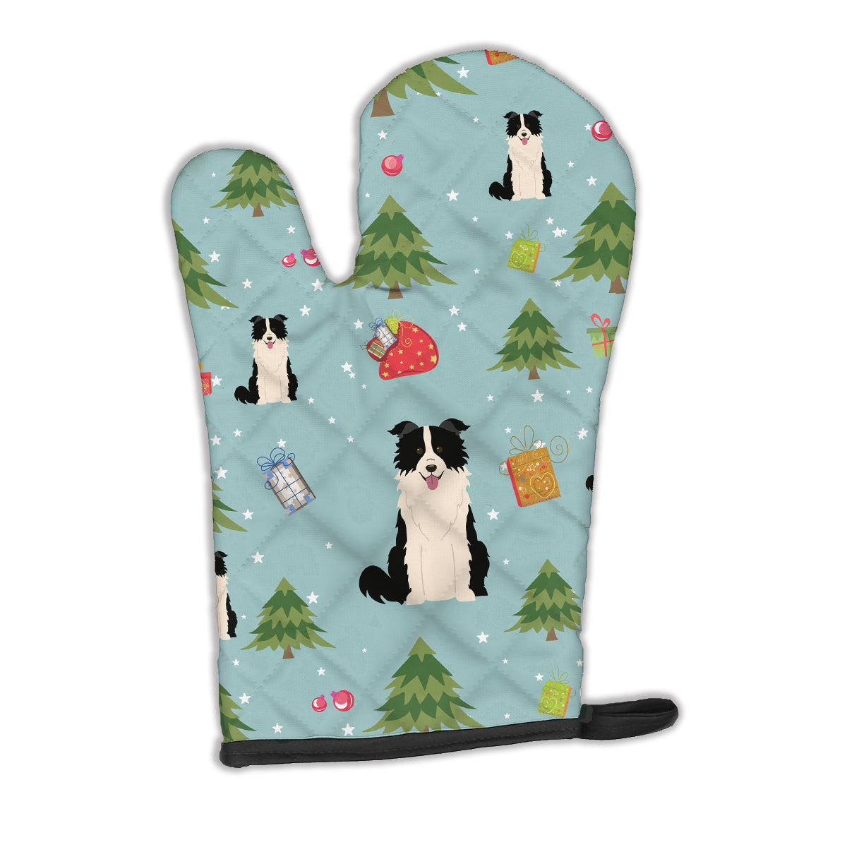 Christmas Border Collie Black White Oven Mitt BB4778OVMT by Caroline's Treasures
