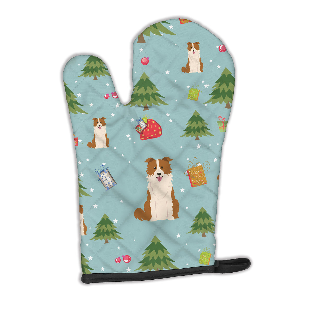 Christmas Border Collie Red White Oven Mitt BB4779OVMT by Caroline's Treasures