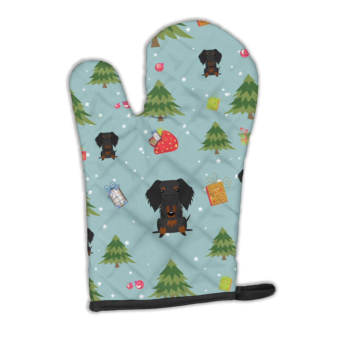 Buy this Christmas Wire Haired Dachshund Black Tan Oven Mitt BB4787OVMT