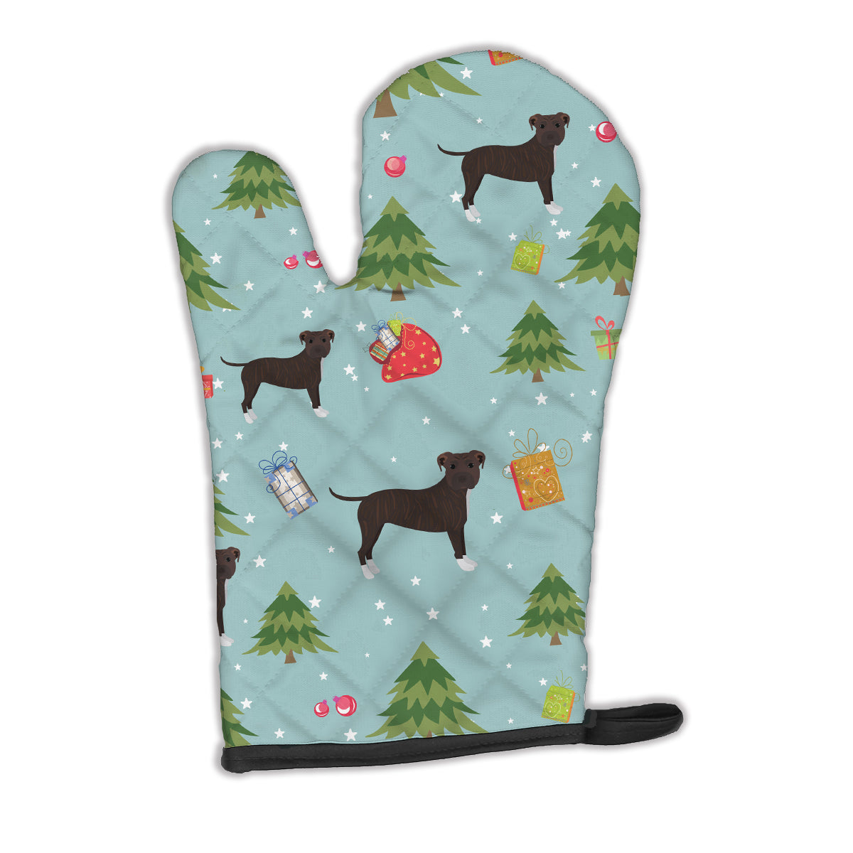 Buy this Christmas Brindle Staffordshire Bull Terrier Oven Mitt BB4985OVMT