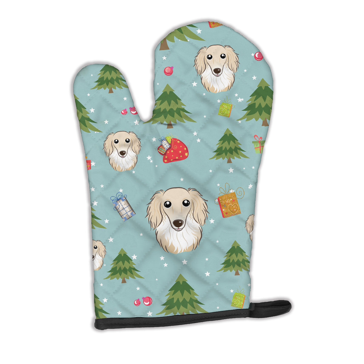 Buy this Christmas Longhair Creme Dachshund Oven Mitt BB5001OVMT