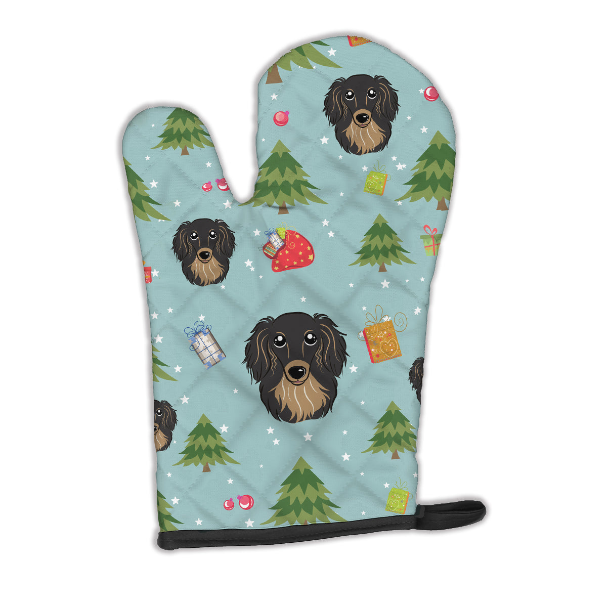 Buy this Christmas Longhair Black and Tan Dachshund Oven Mitt BB5002OVMT