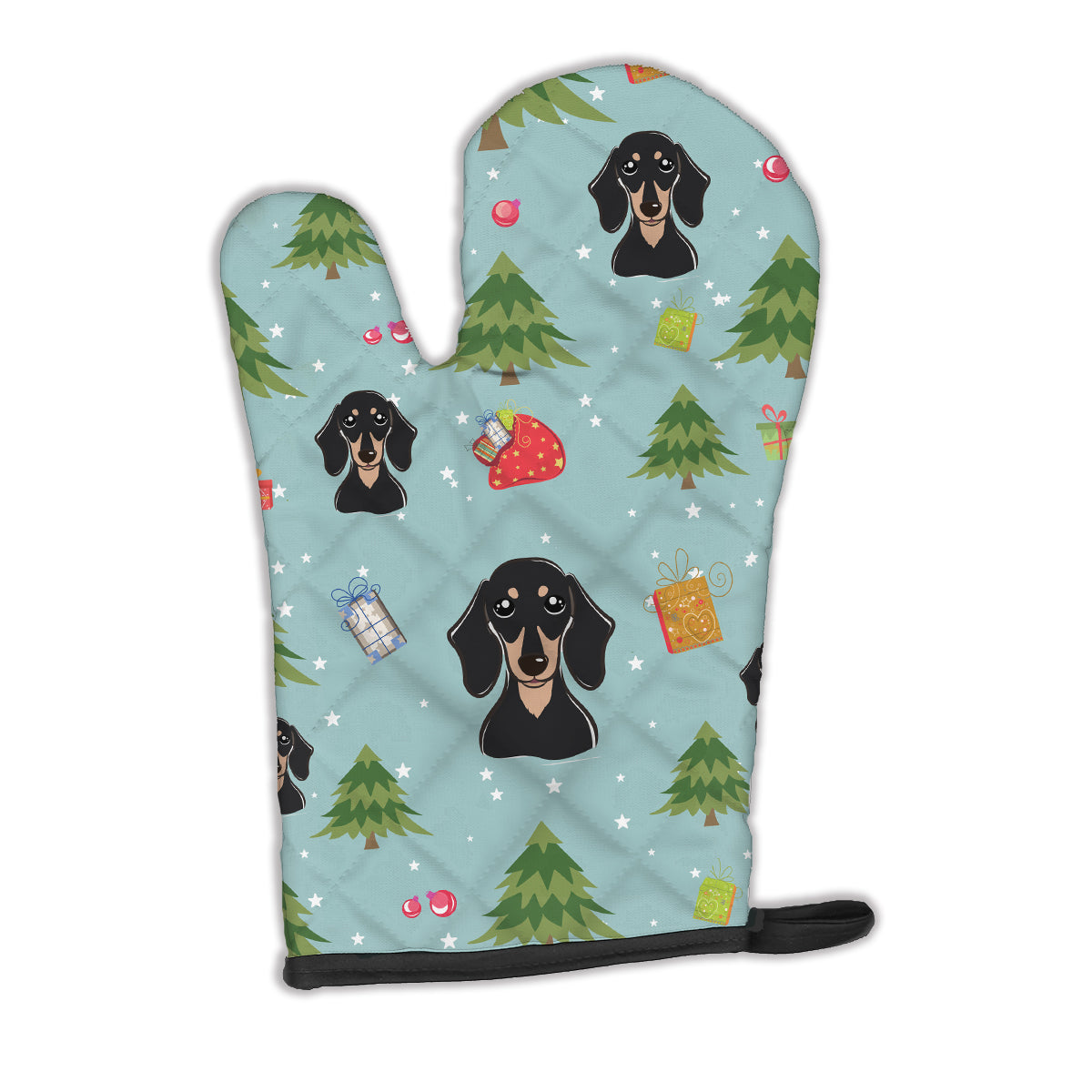 Buy this Christmas Smooth Black and Tan Dachshund Oven Mitt BB5004OVMT