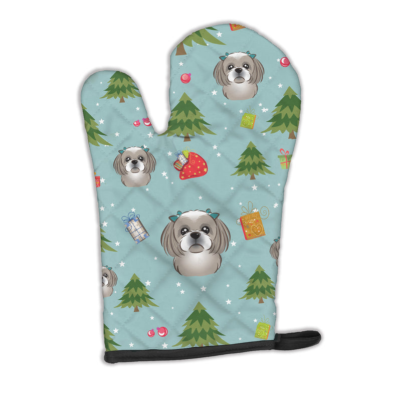 Buy this Christmas Gray Silver Shih Tzu Oven Mitt BB5039OVMT